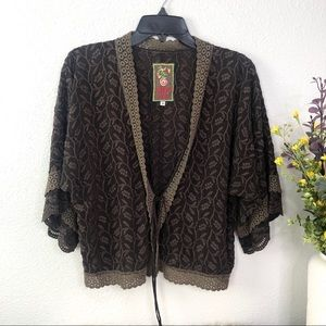 Johnny Was floral lace trim cropped cardigan brown